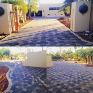 Asian themed home with geometric pavers (Santa Barbara)